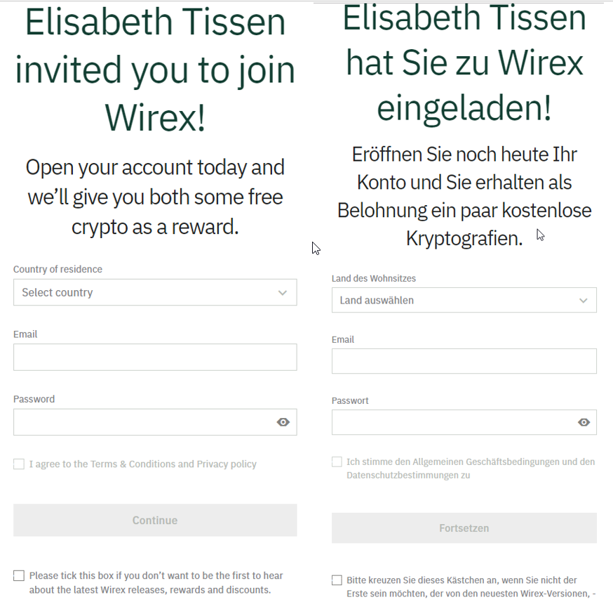 Wirex Registrierung